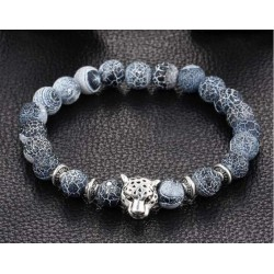 Náramek z kamenů Stříbrný Gepard