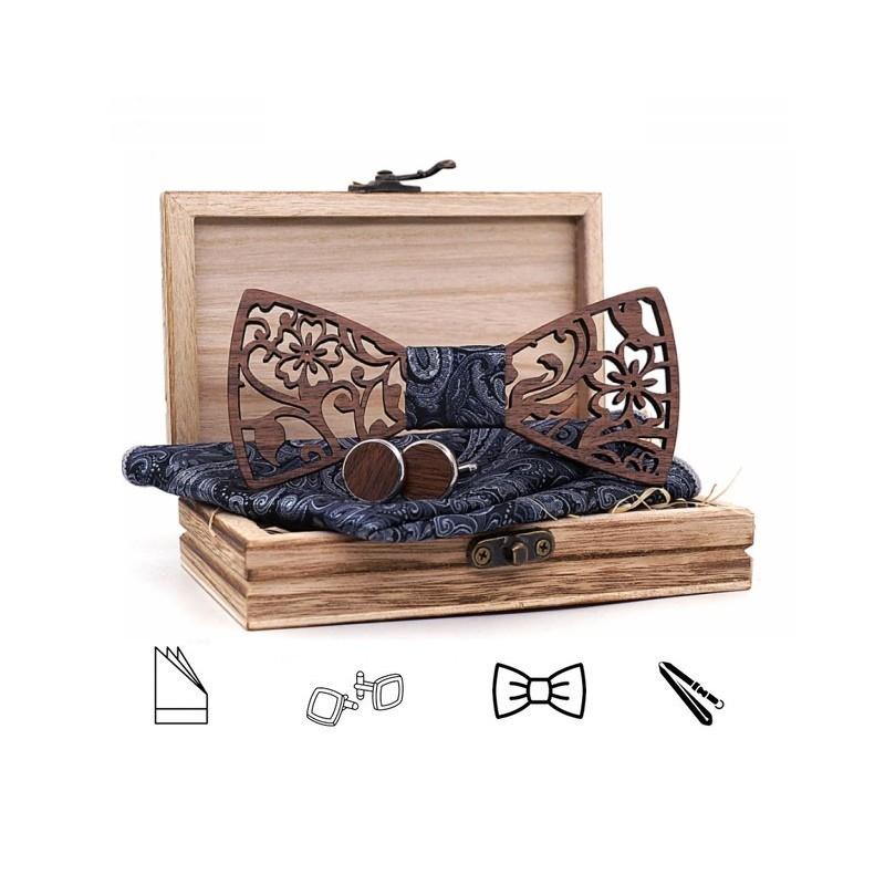 SET Dřevěný motýlek - černý II