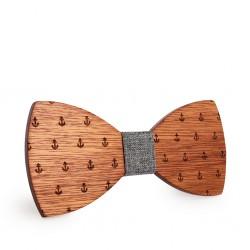 Dřevěný motýlek KOTVY šedý