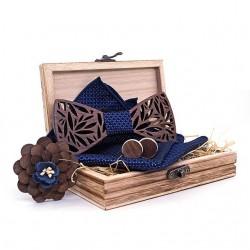 Dřevěný motýlek | kapesníček | manžetové knoflíčky SET