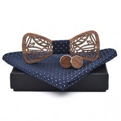 Dřevěný motýlek Vyřezaný II tmavě modrý