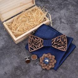 Dřevěný motýlek   kapesníček   manžetové knoflíčky SET