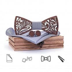 SET Dřevěný motýlek - stříbrný