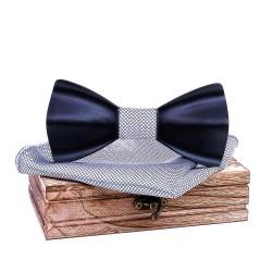 Dřevěný motýlek černostříbrný