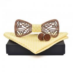 Dřevěný motýlek Vyřezaný - Zlatý