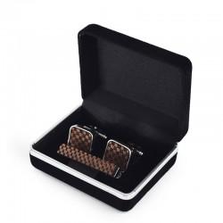 Set manžetové knoflíčky a kravatová spona - šachovnice