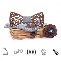 SET Dřevěný motýlek - stříbrný III