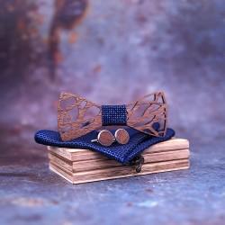 SET Dřevěný motýlek - modrý II