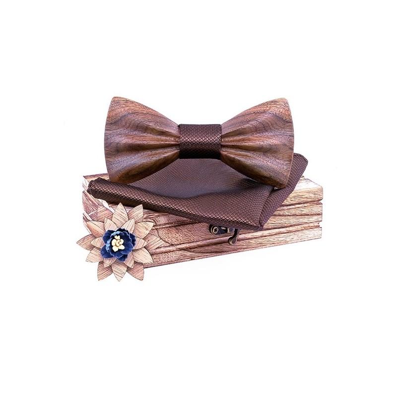 SET Dřevěný motýlek 3D Hnědý