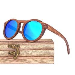 Dřevěné sluneční brýle - modré