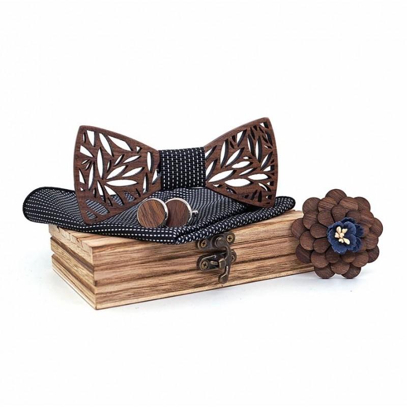 SET Dřevěný motýlek - černý