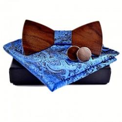 Dřevěný motýlek BLUE s manžetovými knoflíčky
